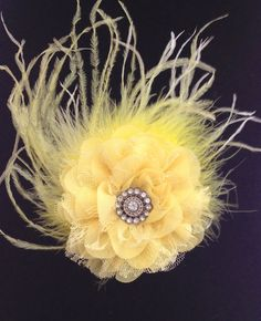 Yellow Chiffon Lace Feather Flower  Hair Clip.   by FancyGirlBoutiqueNYC