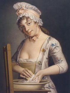 1765 Henry Robert Morland (British artist, 1716-1797) A Lady's Maid Soaping Linen