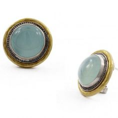 Sterling Silver layered with 24K Gold Earrings featuring Aqua Chalcedony by GURHAN