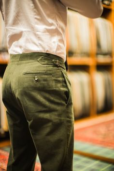 Trousers by Spanish tailors Calvo de Mora. A lovely soft green moleskin from Scabal (Ascona, winter cotton, 501003).