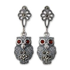 NOVICA Marcasite and Garnet Dangle Earrings ($43) ❤ liked on Polyvore featuring jewelry, earrings, dangle, garnet, owl earrings, feather earrings, owl jewelry, garnet earrings and feather jewelry