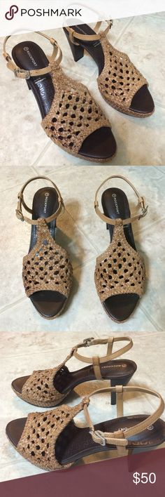 Rockport Weaved Heels Brand new never worn! No tag or box. Rockport is the brand, size 7.5M. Perfect condition. Retails for over $100. Great shoes for a summer night out! Rockport Shoes Heels