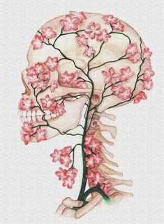 Flower Skull drawing skull designs, art, fashion and Ouvrages D'art, Art Et Illustration, Landscape Illustration, Flower Skull, Skull Design, Skull Art, Art Inspo, Cool Art, Art Projects