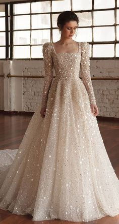 wedding dress winter chana marelus fall 2019 bridal long puff sleeves square straigh across neckline fully embellished a line ball gown wedding dress glitzy princess romantic cathedral train mv -- Chana Marelus Fall/Winter 2019 Wedding Dresses Hijab Wedding Dresses, Bridal Gowns, Wedding Dresses 2018, Dresses Dresses, Sparkle Wedding Dresses, Vintage Wedding Dresses, Bridal Hijab Styles, Muslim Wedding Gown, Hijab Dress Party