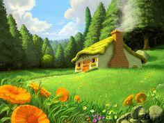 44 HD Masterpieces of Matte Paintings and  Fantasy Scene Wallpapers  - Glade cottage, Fantasy Landscapes Digital Painting Wallpapers 44