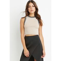Forever 21 Stripe-Trim Crop Top ($23) ❤ liked on Polyvore featuring tops, stripe top, pattern tops, stripe crop top, white tops and sleeveless crop top