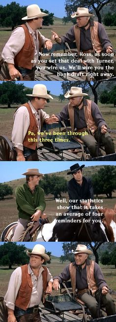 Ben briefs Hoss with a list of instructions before he departs on a business trip to Denver. From A Matter of Strength (Bonanza)