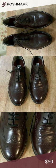 Men's Dark Brown Rockport Leather Shoes Size 10.5 Wide Rockport Shoes Oxfords & Derbys