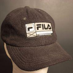 Vintage Fila Strapback Hat Baseball Cap Adjustable Black Silver High Performance #FILA #Strapback