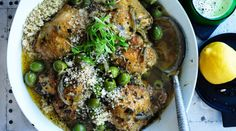 Middle Eastern braised chicken with green olives