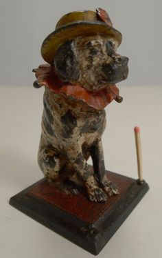 Antique English Figural Match Strike / Go-to-bed - Dog Dog Bed, Punch, Lion Sculpture, English, Statue, Antiques, Dogs, Art, Antiquities