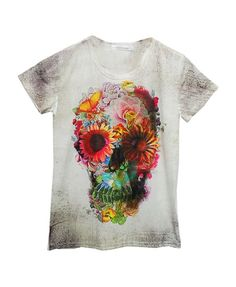 Sunflower and Skull Print T-shirt with Round Neckline - T-shirt Tops - T-shirts  Tanks - Clothing