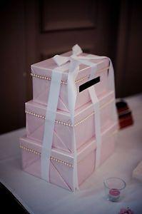 Beautiful Handmade Pink Wedding Post Box Card Box (do in black and white)