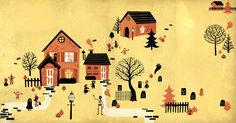 Maisons style illustration 50's