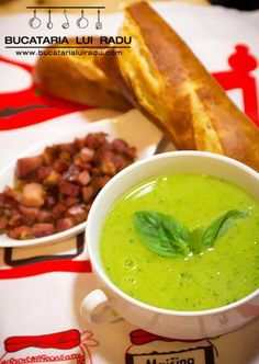 Supa de mazare. Supa crema cu sunca afumata si busuioc. Ethnic Recipes, Food, Essen, Meals, Yemek, Eten