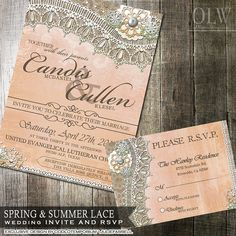 Rustic Lace Wedding Invitation and RSVP Card  Rustic Peach and Mint Flowers with burlap and lace great for a country wedding.