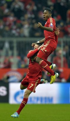 Franck Ribéry and David Alaba celebrating Alaba's goal