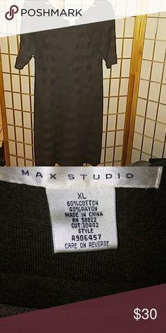 "NWOT Max Studio sweater dress NWOT Max Studio short sleeve brown sweater dress. 40"" from shoulder to the end of hemline. Knee length. Never worn. Smoke free pet free home. Max Studio Dresses"