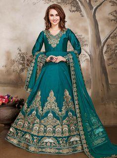 Teal Taffeta Silk Embroidery Work Floor Length Anarkali Suit 87064