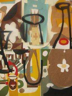 Trabajando en una serie de nuevas piezas para muestra individual que inauguro en Quimera durante el mes de diciembre._ Detalle ' La mesa de las seis. 50x70cm. Collage de papel. (Fabriano, 200gr) ' 2013.