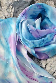 56605fea5 Azurovo - šeříková pastelová hedvábná šála / Zboží prodejce suzen