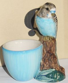 Quail Pottery  Blue. Budgierigar with Egg Cup