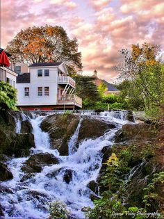 Camden Falls, Maine This is an amazing site. The town is built along side it and the river dumps into Penobscot Bay right in the marina.