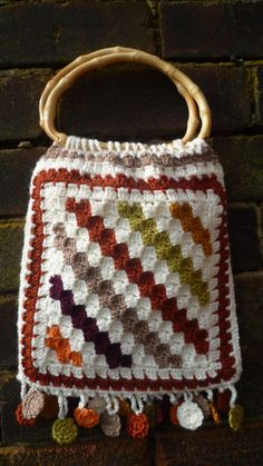 Crochet Bag with bamboo handles and fringe