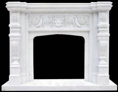 Florida White Marble Fireplace   Florida Fireplaces   Marble beautifully hand carved details on this tropical style mantel by ARTISAN KRAFT