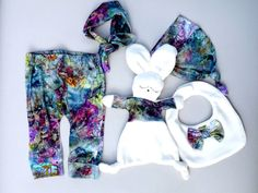 Baby Girl Gift Set, Baby bib, Sleep bunny, Baby hat, Baby pants, Baby hair band, Baby girl, Violet, White, Baby shower gift, size 62