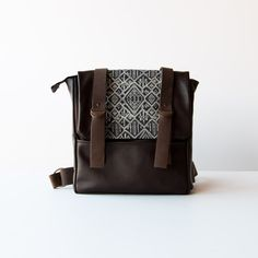 Brown Leather - Recycled Leather & Cotton Backpack / Shoulder Bag - Handmade in Canada - Chic & Basta