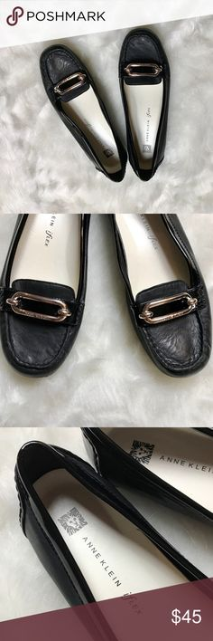 Anne Klein Noris Leather Loafers (EUC) Size - 9 Black leather loafers by Anne Klein with silver metal buckle on the front with Anne Klein engraved. Very comfortable, in great condition, like new worn only around the house. Perfect for the professional look without sacrificing comfort. Women's size 9. Anne Klein Shoes Flats & Loafers