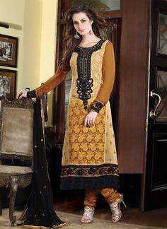 Brown Embroidered Salwar Kameez