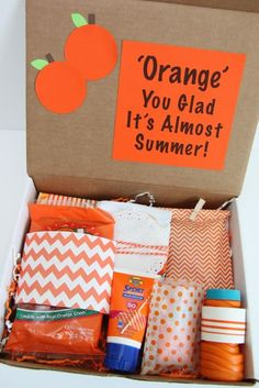 Happy Mail: Orange You Glad It's Almost Summer Gift Idea - Smashed Peas & Carrot. Happy Mail: Orange You Glad It's Almost Summer Gift Idea – Smashed Peas & Carrots Happy Mail: O Teacher Appreciation Gifts, Teacher Gifts, Tarjetas Diy, Secret Sister Gifts, Mail Gifts, Themed Gift Baskets, Theme Baskets, College Gifts, College Care Packages