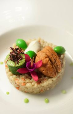 Risotto d'Epeautre et Oursins: barley risotto, seaweed stock, uni ...