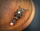 Macrame necklace with Rose Quartz and Pink Tourmaline * Intuitive Jewelry * Love Stones * Healing Stone *