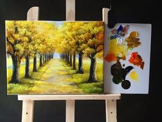 Autumn Tree Lined Road in Acrylics Tutorial Part 1 - YouTube