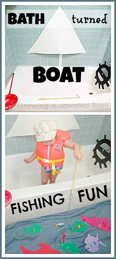 My nephew would LOVE this! Transform your bath into a boat for loads of fun on a rainy day! Full of imaginative fun and learning with number fishing! Rainy Day Activities, Indoor Activities, Toddler Activities, Rainy Day Fun, Kids Corner, Corner Bath, Best Bath, Cool Baby Stuff, Kid Stuff