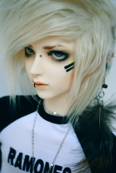 Just a preview. by Pindakees on deviantART. Punk boy bjd doll face paint and piercings.