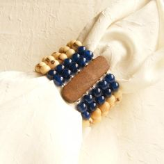Brazilian Acai Seeds and Midnight Blue Opal Beads 5 Strands Eco Friendly Bracelet via LauraBijoux. Click on the image to see more!
