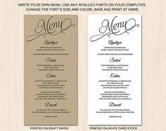 Rustic script menu card template by PrintableWeddingDIY on Etsy