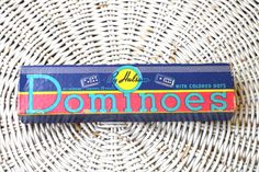 Vintage 1940s Dominoes Box GREAT GRAPHICS by retrowarehouse