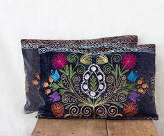 Uzbek suzani pillows 12x18 TWO decorative by MulberryWhisper