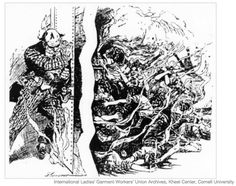 This is yet another political cartoon about the fire, this time from the International Ladies' Workers Union archives.  It shows a man covered in money holding the door against factory worker women who were burned to death - symbolic of the doors locked by factory owners Harris and Blanck.