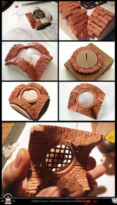 Domus project 18: Clay brick cross vault with a manhole  http://pietrasupietra.blogspot.com/2012/03/construction-18-cross-vault-with.html  The Domus project is the construction in scale 1:50 of an imaginary medieval palace. It's made of clay, stones, slate, wood and other construction materials in the style of rich genoese buildings from the middle of XIV century.