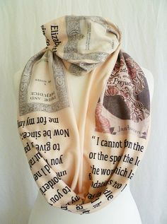 Very Pretty Pride and Prejudice Soft jersey Scarves  The total length all around is 57 inches x 9 inches  It is made in a Soft jersey fabric. ( t shirt