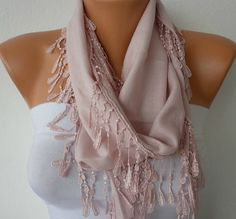 Salmon Scarf    Pashmina Scarf   Headband Necklace by fatwoman, $13.50
