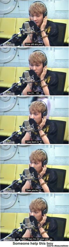 The time Yixing forgot his own age (also probably partially getting confused with the Korean age system) | allkpop Meme Center