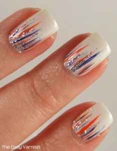 Waterfall Manicure #NCAA #CollegeFootball #Auburn Manicure For Great Sports Stories, Funny Audio Podcasts, and Football Rules Tutorial www.RollTideWarEagle.com
