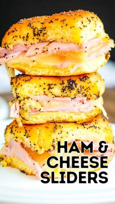 Best Appetizers Ever, Quick And Easy Appetizers, Appetizer Recipes, Sandwich Recipes, Snack Recipes, Dinner Recipes, Dessert Recipes, Desserts, Ham Cheese Sliders